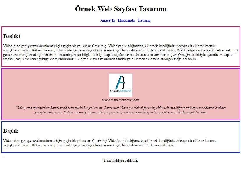 Html5 ile web sayfas rne i 1 web tasar m programlama for Html5 center div